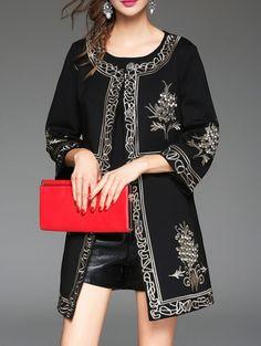 Image of Black Crew Neck Vintage Embroidered Coat Abaya Style, Hijab Style, Abaya Fashion, Fashion Dresses, Morrocan Dress, Mode Abaya, Arabic Dress, Coats For Women, Clothes For Women