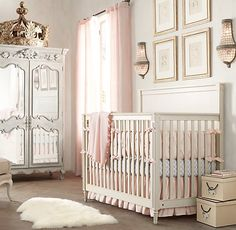 Gathered Linen-Cotton Crib Skirt | Crib Skirts | Restoration Hardware Baby & Child