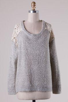 77cff9fa27ed Lace Shoulder Shimmer Sweater