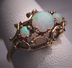 Antique Victorian Australian Opal Pearl Ring by AawsombleiJewelry