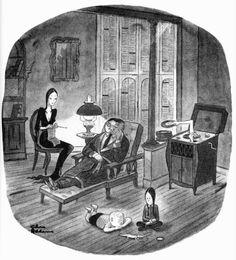 Charles Addams cartoon//basis of The Addams Family