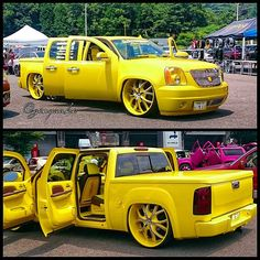 chevy truck with denali front end. yellow and black interior custom slammed tucked clip Dropped Trucks, Lowered Trucks, Dually Trucks, Chevrolet Blazer, Chevrolet Trucks, Chevrolet Silverado, 68 Ford Mustang, Custom Pickup Trucks, Top Luxury Cars