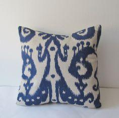 Indigo Ikat Decorative Pillow Cover 16 x 16 by IndigoBlissBoutique, $28.00
