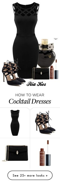 """black dress"" by ria-kos on Polyvore featuring Aéropostale, Bulgari and NYX"