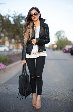 Leather Jacket & Skinny Jeans. Zara leather jacket. Topshop Jeans.