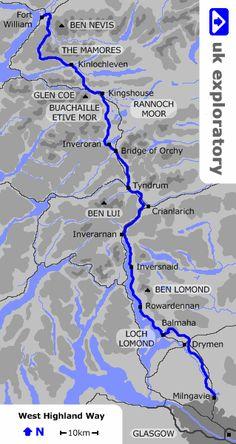 PLanning on doing this in May - can't be worse than tough mudder right? The West Highland Way is a walking trail running for through the Southern and Western Highlands of Scotland, from Glasgow to Fort William. Get hiking in Scotland tips. Scotland Hiking, Scotland Travel, Scotland Trip, Scotland Tours, Scotland Castles, Skye Scotland, Ben Lomond, Loch Lomond, West Highland Way Map