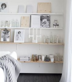 Mix of RIBBA picture ledges with deep wooden shelves looks stunning. Open shelving | live at IKEA FAMILY