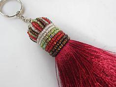 Flamenco Red Silk Tassel Keychain No 41 Luxury by midgetgems, $9.99