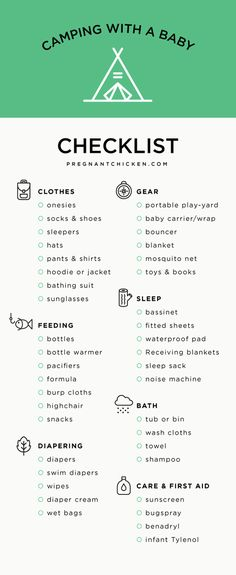 Ultimate checklist for camping with a baby. The post even includes the best gear and some incredible ideas, tips and hacks!