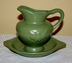 Vintage Hull Pottery USA Small Pitcher and Under Plate Bowl Early American Eagle Stars Commemorative Matte Green Bi Centennial by AstridsPastTimes on Etsy
