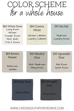 Whole house color scheme Color palette for the whole house Whole house color scheme Colors of the whole house Farmhouse color palette Modern country colors Farmhouse colors Interior Paint Colors, Paint Colors For Home, Paint Colors For Kitchen, Interior Painting Ideas, Dinning Room Paint Colors, Kitchen Color Schemes, Outside House Paint Colors, House Color Schemes Interior, Basement Color Schemes