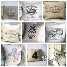 Almohadones estilo vintage, en www.facebook.com/vintagechictienda Paris Vintage, Vintage Shabby Chic, Shabby Chic Decor, Country Cushions, Stenciled Pillows, Throw Pillow Covers, Throw Pillows, Crown Decor, Silk Screen Printing