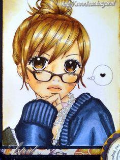 Manga Girl, I found this beauty on the internet, she's Coloured with copic Markers: Hair: E57, E53, E51, E50 Skin: E11, E00, E000, E95 Eyes: E37, E15 YR12 Sweater: B99, B97, B95, B93 Her glasses ar...