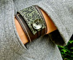 Leather Cuff Wrap Bracelet Florance Print in Brown & by Hollyhawk, $27.50