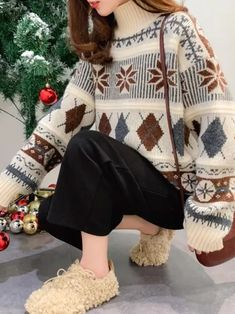 Retro autumn and winter knit pullover Long sleeve turtleneck