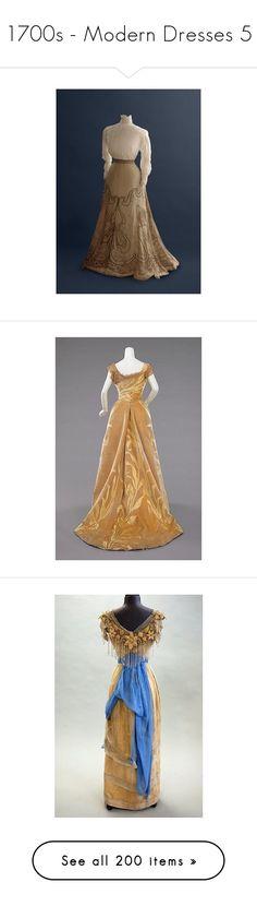 """1700s - Modern Dresses 5"" by ltspork ❤ liked on Polyvore featuring dresses, vintage dresses, brown vintage dress, brown dress, red vintage dress and red dress"