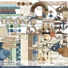 Oceania Scrapbook Kit (KT617745) Digital Scrapbooking Kits DesignerDigitals by Katie Pertiet - With 85 elements, a wooden alphabet and 10 designer 12x12 papers, this kit is a no-brainer to add to your...