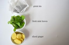 Iced Green Tea Infused with Fresh Mint and Ginger