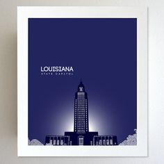 Louisiana Skyline State Capitol Landmark - Modern Gift Decor Art Poster 8x10. $20.00, via Etsy.