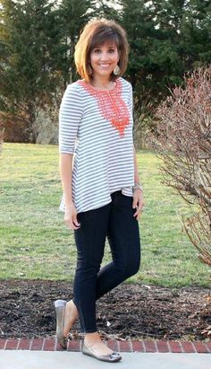 """Cyndi from Walking in Grace and Beauty knows that an embroidered neckline is a great way to """"accessorize"""" without having to layer on a heavy statement necklace. Check out this awesome shirt she got in her last Fix!"""