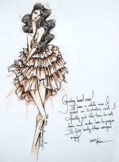 My cousin's fashion drawings. Love them and love him!