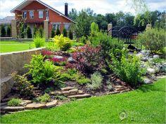 Rock tiers in garden Hillside Landscaping, Landscaping Images, Front Yard Landscaping, Landscape Design, Garden Design, Desert Landscape, Gardens Of Stone, Outdoor Spaces, Outdoor Decor