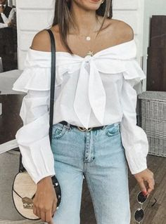 Gift Day Sweet Off-Shoulder Long Sleeve Splicing Bowknot Blouse Fashion Outfits, Womens Fashion, Fashion Trends, White Women, Corsage, Blouse, Passion For Fashion, Autumn Fashion, Street Style