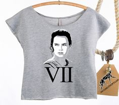 SALE! SAVE SEVEN Dollars! Rey Star Wars 7, The Force Awakens. Women's Crop Top in Terry Off-The-Shoulder Raw Edges.  Regularly 22 Dollars!