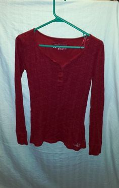 Red Girls Aeropostale Size Medium Long Sleeve 3 4 Button Down | eBay