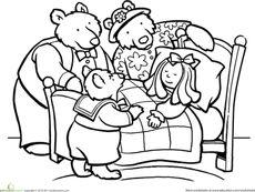 Color Goldilocks and the Three Bears Worksheet