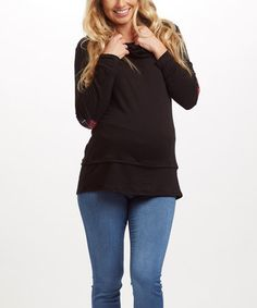 Look what I found on #zulily! PinkBlush Black Plaid-Elbow Maternity Cowl Neck Top #zulilyfinds