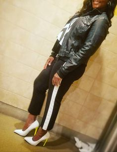 #whiteheels #neon #blackandwhite #leatherjacket