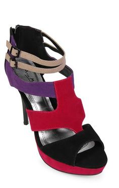 color block high heels with zip up back $35.50