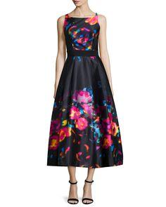 Sleeveless Floral-Print Tea-Length Dress