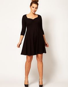 ASOS CURVE Exclusive Skater Dress with 3/4 Sleeve... What an adorable lbd!