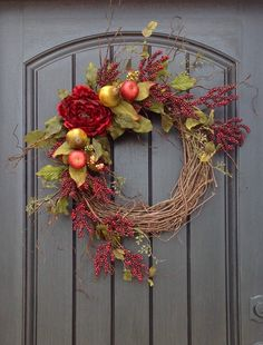 Hey, I found this really awesome Etsy listing at https://www.etsy.com/listing/230309132/spring-summer-fall-wreath-red-berry