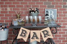 Cigar and drink bar great for a guys area at a wedding or for a birthday party