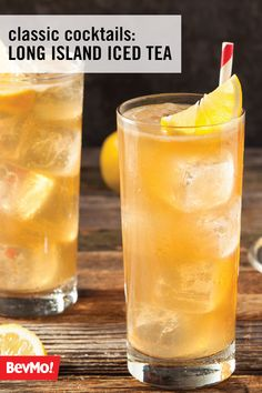 Learn a bartending classic with this recipe for a Long Island Iced Tea. To start, grab the essential spirits you'll need—like rum, vodka, tequila, and gin—at BevMo! Then add a splash of cola and a lemon wedge to finish off this delicious cocktail for all your spring party guests. Drinks Alcohol Recipes, Non Alcoholic Drinks, Bar Drinks, Cocktail Drinks, Cold Drinks, Drink Recipes, Tea Recipes, Cocktail Recipes, Recipies