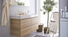 A peaceful and serene bathroom would not be complete without the modern and clean look of the IKEA GODMORGON sink cabinet. Serene Bathroom, Ikea Bathroom, Bathroom Design Small, Bathroom Furniture, Bathroom Interior, Modern Bathroom, Teen Furniture, Plywood Furniture, Bathroom Designs