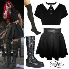 Ash Costello performed at Warped Tour wearing the Killstar Addams Crop Top ($47.61), Deandri Nancy Wrap Box Pleated Skirt Black ($55.00), Pretty Polly Pretty Formal Mock Hold Up Tights ($25.00), and Demonia V Creeper 588 Boots ($169.95).