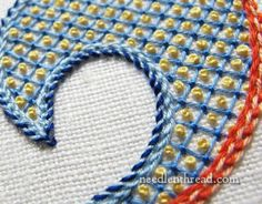 Lattice Stitch, French Knots, Interlaced Hungarian Chain Stitch and Interlaced Chain Stitch