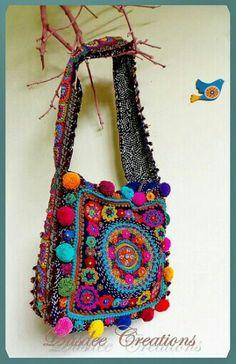 Bright Boho Crohet & Embroidery bag by AowDusdee - Inspiration - No Pattern Embroidery Bags, Vintage Embroidery, Embroidery Patterns, Embroidery Thread, Crochet Handbags, Crochet Purses, Hippie Crochet, Knit Crochet, Diy Handbag