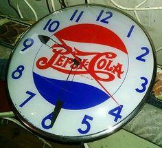 Pepsi-Cola Vintage Clock (Old Antique Soda Pop Beverage Drink Advertising Light Up Sign, Pepsi)
