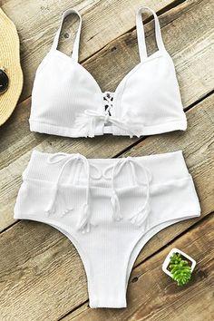 2904eab46b4de Cupshe Bath In Sunshine High-waisted Bikini Set Bikini Beach