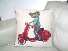 Coussin déhoussable motif grenouille 45X45 cm : Textiles et tapis par sous-ma-bulle