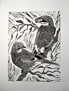Two Jays, single colour linocut. A4 Paper, Linocut Prints, Printmaking, Jay, Initials, Lino Cuts, Colour, Inspiration, Products
