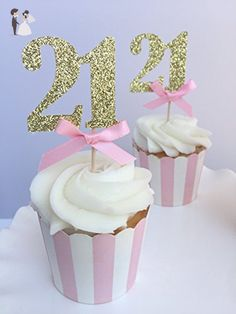 Pink Gold Glitter Number Cupcake Toppers. 21st Birthday Celebration. 21st Birthday Party or Anniversary Handmade Decorations. 10CT - Cake and cupcake toppers (*Amazon Partner-Link)
