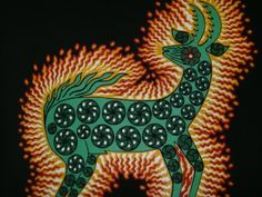 El Vanado Magico by Santos Daniel Carrillo The magical deer represents both the power of maize to sustain the body & of the peyote cactus to feed and enlighten the spirit.  The Huichol make offerings to the Deer of the Maize to care for their crops, and to the Deer of the Peyote to bring them spiritual guidance and artistic inspiration.