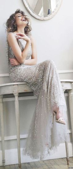 ZsaZsa Bellagio – Like No Other: Extra Sparkly-formal silver sparkly gown
