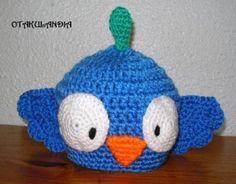 Mod. Blue Bird Gorro realizado a mano en crochet para los peques de la casa... Divertido, confortable y sobre todo original... mucho más en https://www.facebook.com/otakulandia.es